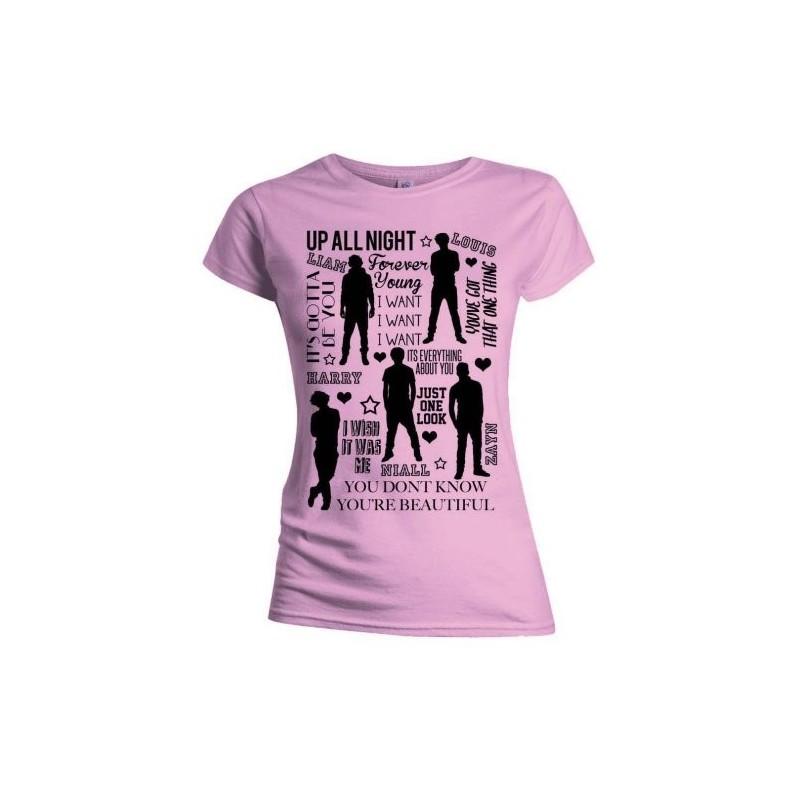 Tricou Damă One Direction Silhouette Lyrics Black on Pink