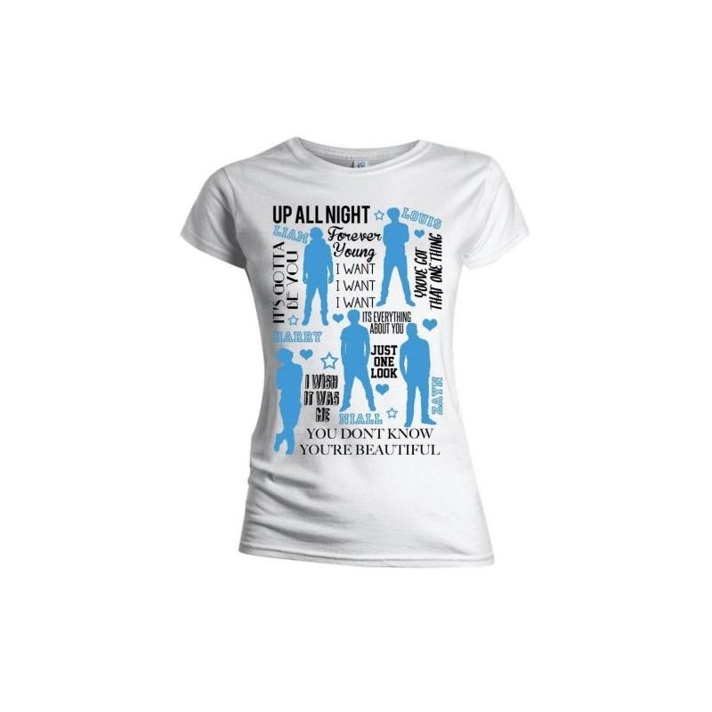 Tricou Damă One Direction Silhouette Lyrics Blue on White