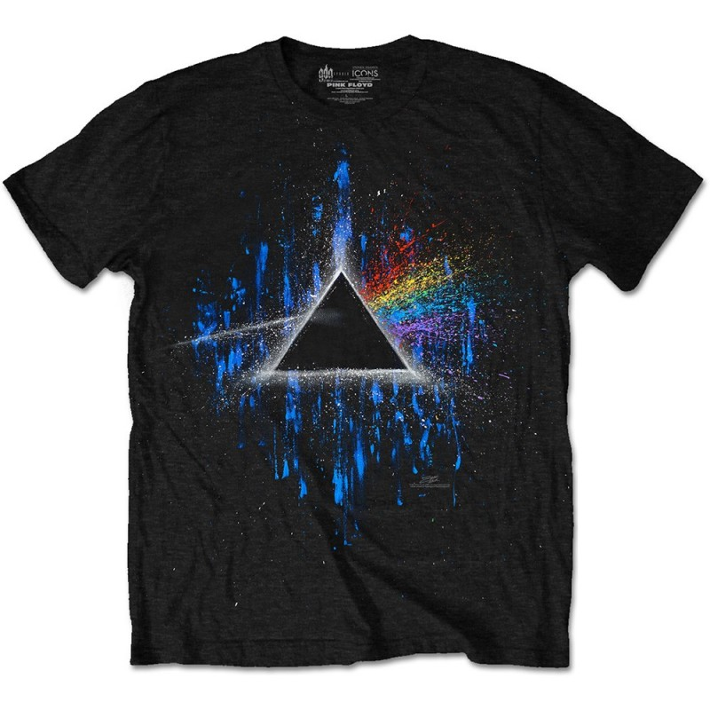 Tricou Pink Floyd Dark Side of the Moon Blue Splatter