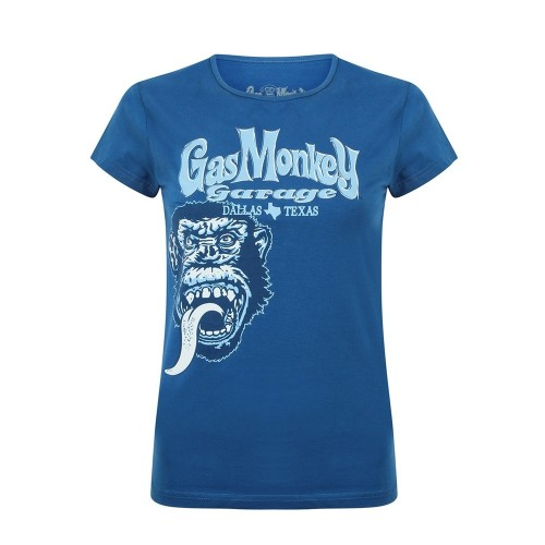 Tricou Damă Gas Monkey Garage Tonal Monkey Classic (albastru)