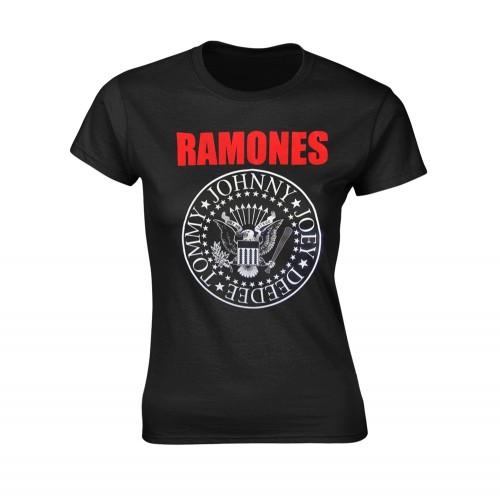 Tricou Damă Ramones Red Text Seal Logo