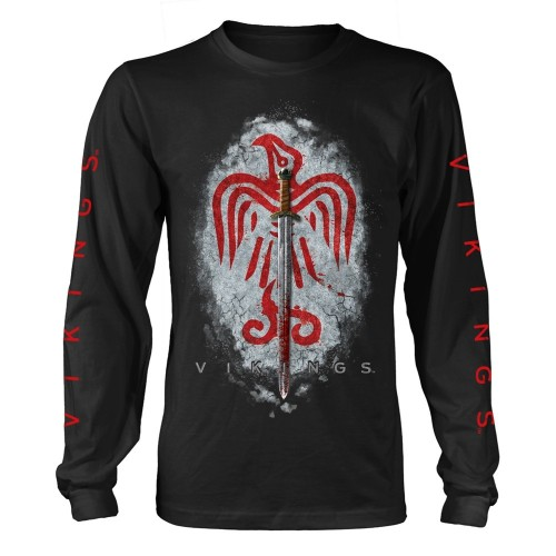 Tricou mânecă lungă Vikings Raven Sword