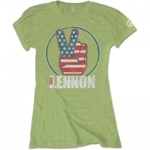 Tricou Damă John Lennon Peace Fingers US Flag