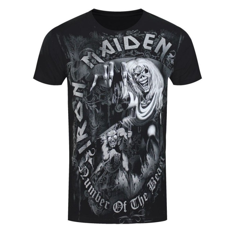 Tricou Iron Maiden Number of the Beast Grey Tone