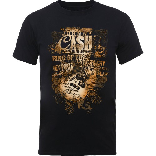 Tricou Johnny Cash Guitar Song Titles