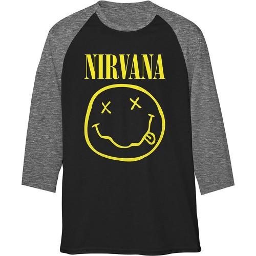 Tricou Mânecă 3/4 Nirvana Yellow Smiley