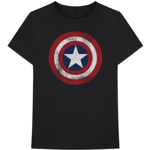 Tricou Marvel Comics Captain America Distressed Shield