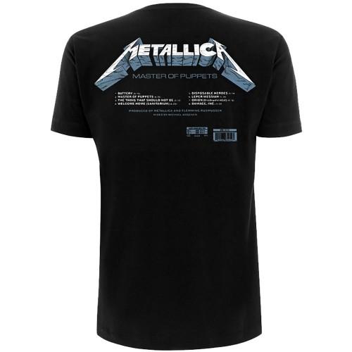 Metallica Unisex Tee: Master of Puppets Tracks (Back Print)