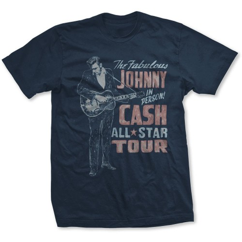 Johnny Cash Unisex Tee: All Star Tour (Back Print)