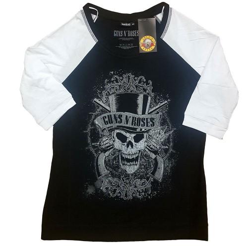 Tricou Dama cu Maneca 3/4 Guns N' Roses Faded Skull